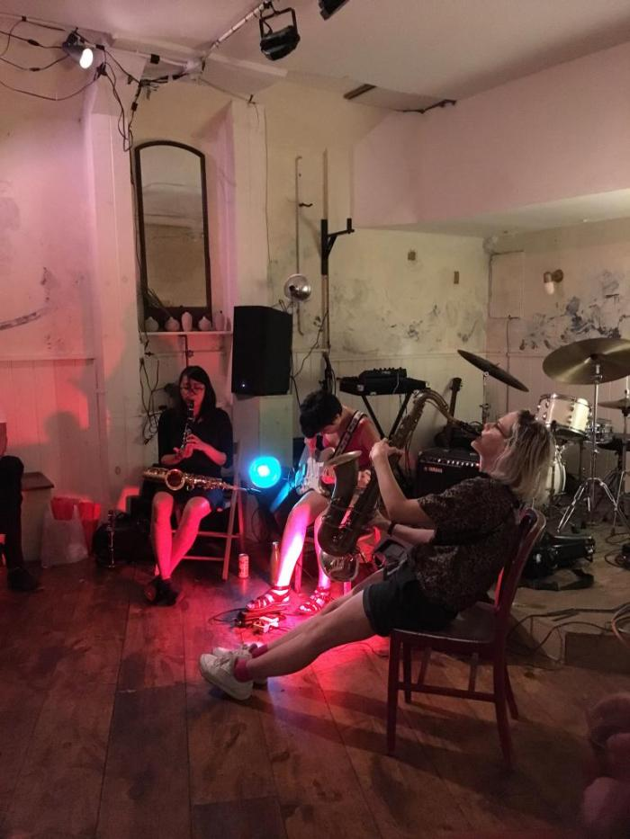 Angela Morris improvising with Karen Ng and Jessica Ackerley in Brooklyn Aug 2018 photo by